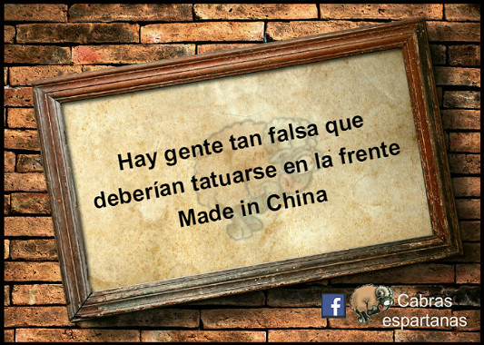 Cartel: Hay gente tan falsa que deberían tatuarse en la frente Made in China
